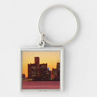 Detroit skyline in colorful sunset keychain