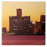 Detroit skyline in colorful sunset large square tile