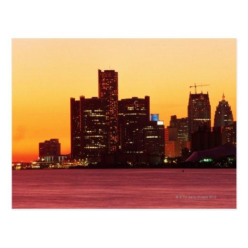 Detroit skyline in colorful sunset postcard