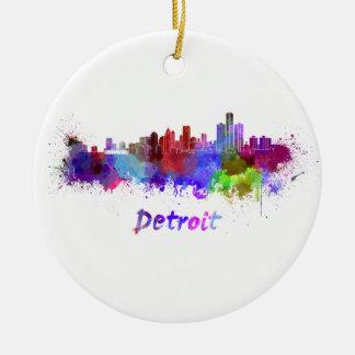 Detroit skyline in watercolor ceramic ornament