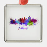 Detroit skyline in watercolor ornaments para arbol de navidad