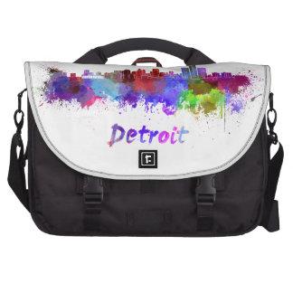 Detroit skyline in watercolor laptop computer bag