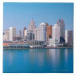 Detroit skyline large square tile