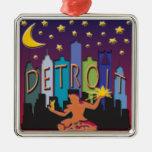 Detroit Skyline Mega Color Square Metal Christmas Ornament