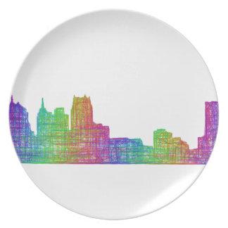 Detroit skyline melamine plate