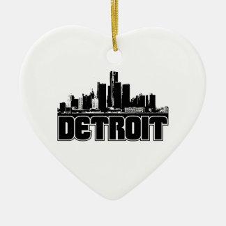 Detroit Skyline Double-Sided Heart Ceramic Christmas Ornament