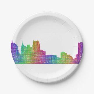 Detroit skyline paper plate