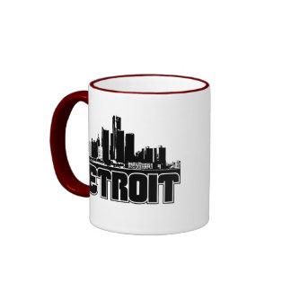 Detroit Skyline Ringer Coffee Mug