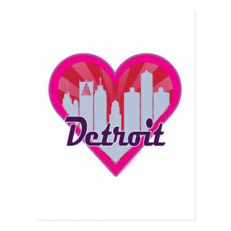 Detroit Skyline Sunburst Heart Postcard