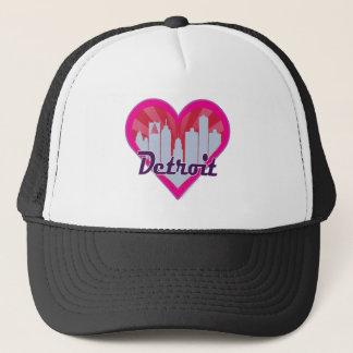 Detroit Skyline Sunburst Heart Trucker Hat