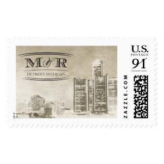 Detroit Skyline Wedding Monogram Postage Stamps