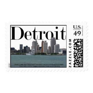 Detroit Skyline with Detroit in the Sky Postage Stamps