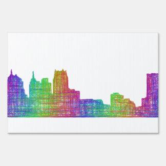 Detroit skyline yard sign