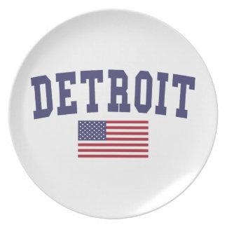 Detroit US Flag Dinner Plate