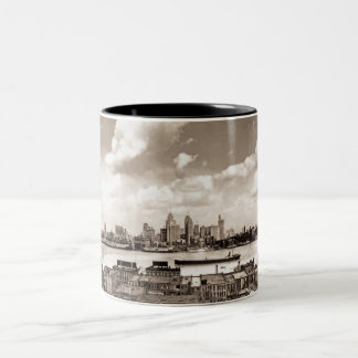 Detroit vieja taza de café de dos colores