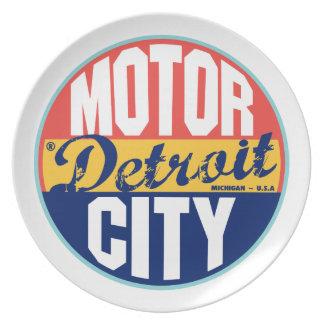 Detroit Vintage Label Melamine Plate