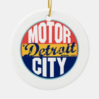 Detroit Vintage Label Double-Sided Ceramic Round Christmas Ornament