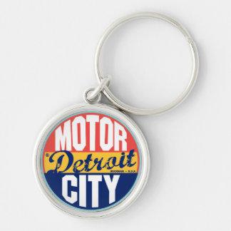 Detroit Vintage Label Silver-Colored Round Keychain