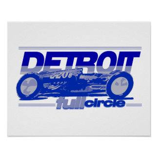 Detroit Vintage Race Car Full Circle done in blues Poster