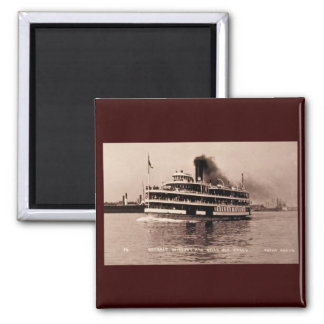 Detroit Windsor and Belle Isle Ferry - Louis Pesha 2 Inch Square Magnet