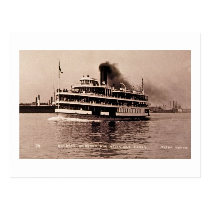 Detroit Windsor and Belle Isle Ferry - Louis Pesha Postcard