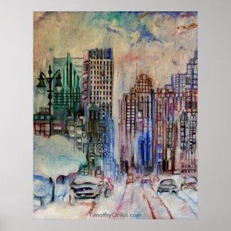 Detroit Wintry Halcyon Canvas Print print