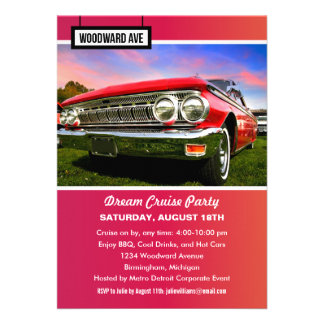 Detroit Woodward Dream Cruise Party Invitation