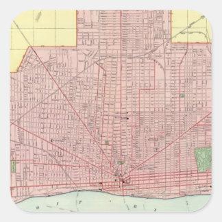 Detroit y vecindad calcomanías cuadradass personalizadas