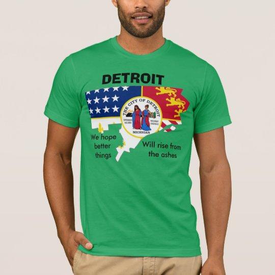 Detroit's flag in the city's outline tee shirt