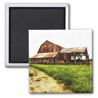detroyed red rusted barn refrigerator magnets