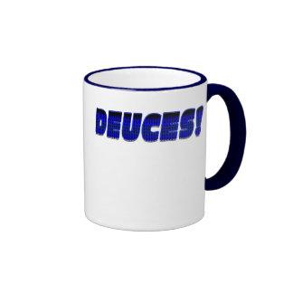 DEUCES-Blue-Black Coffee Mugs
