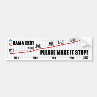 Deuda de Obama - haga por favor que para Pegatina Para Auto