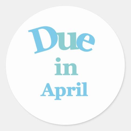 Deuda del azul en abril etiqueta redonda