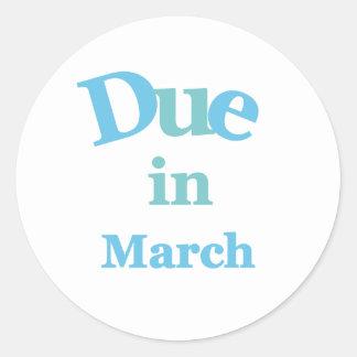 Deuda del azul en marzo pegatina redonda