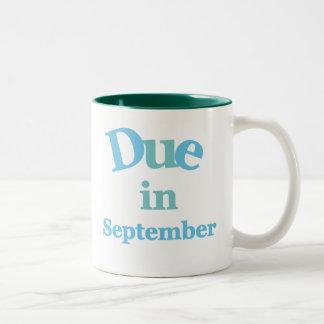 Deuda del azul en septiembre taza de café de dos colores