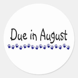 Deuda en agosto pegatina redonda