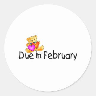 Deuda en febrero (peluche) pegatina redonda