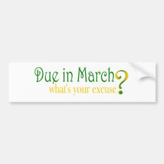 Deuda en marzo pegatina de parachoque