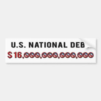 Deuda nacional 2012 de los E.E.U.U. Pegatina De Parachoque