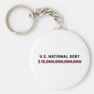 Deuda nacional de los E.E.U.U. Llavero Redondo Tipo Pin