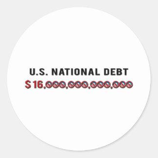 Deuda nacional de los E.E.U.U. Pegatina Redonda