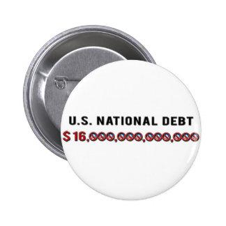 Deuda nacional de los E.E.U.U. Pin Redondo De 2 Pulgadas