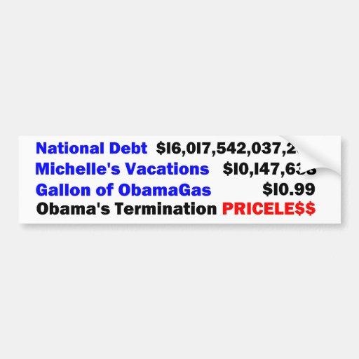 Deuda nacional de Obama, las vacaciones de Michell Etiqueta De Parachoque