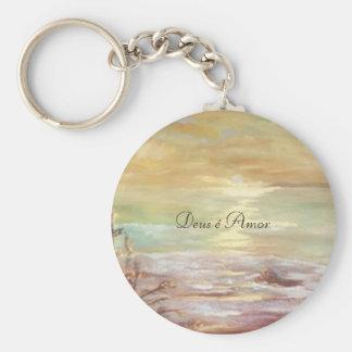Deus é Amor porta-chaves Basic Round Button Keychain