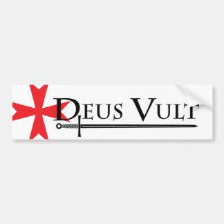Deus Vult (God Wills It!) Bumper Sticker White Car Bumper Sticker