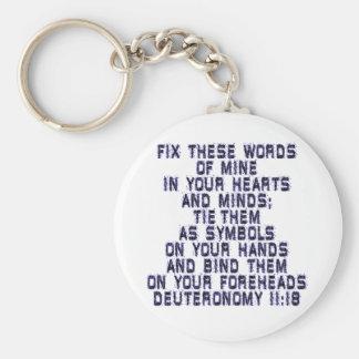 Deuteronomy 11:18 basic round button keychain