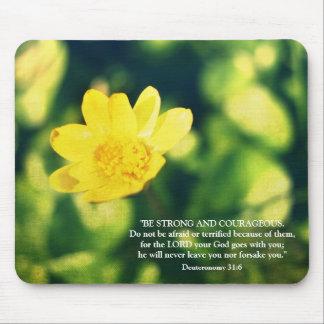 Deuteronomy 31:6 Bible Verse Yellow Flower Mouse Pad