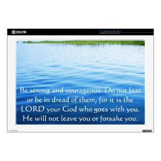 "Deuteronomy 31:6 Bible Verses about courage 17"" Laptop Skins"