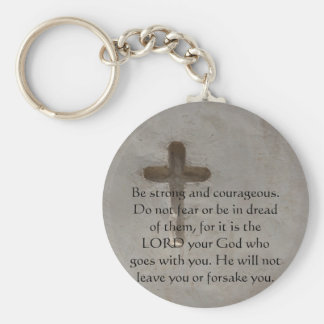 Deuteronomy 31:6 Bible Verses about courage Basic Round Button Keychain
