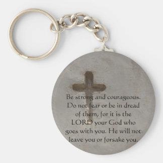 Deuteronomy 31:6 Bible Verses about courage Basic Round Button Keychain